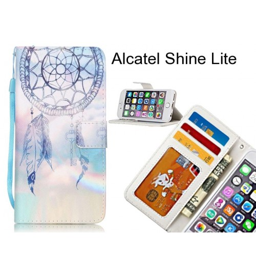 Alcatel Shine Lite case 3 card leather wallet case printed ID