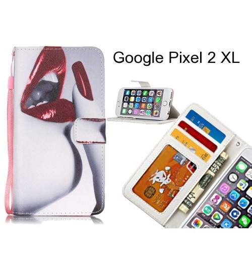 Google Pixel 2 XL case 3 card leather wallet case printed ID