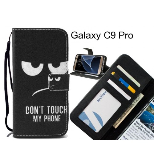 Galaxy C9 Pro case 3 card leather wallet case printed ID