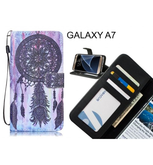 GALAXY A7 case 3 card leather wallet case printed ID