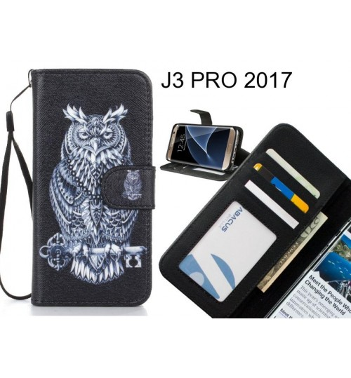 J3 PRO 2017 case 3 card leather wallet case printed ID