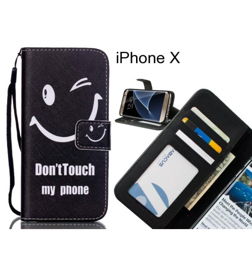 iPhone X case 3 card leather wallet case printed ID