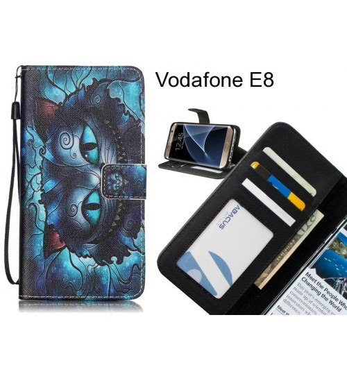 Vodafone E8 case 3 card leather wallet case printed ID