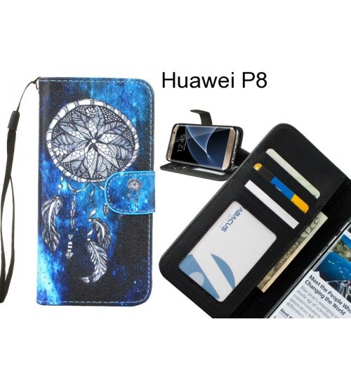 Huawei P8 case 3 card leather wallet case printed ID