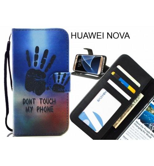 HUAWEI NOVA case 3 card leather wallet case printed ID