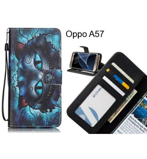 Oppo A57 case 3 card leather wallet case printed ID