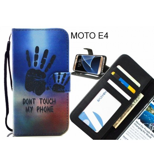 MOTO E4 case 3 card leather wallet case printed ID