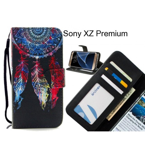Sony XZ Premium case 3 card leather wallet case printed ID