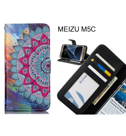 MEIZU M5C case 3 card leather wallet case printed ID