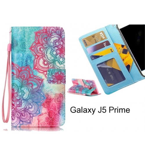 Galaxy J5 Prime case 3 card leather wallet case printed ID