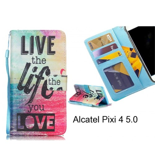 Alcatel Pixi 4 5.0 case 3 card leather wallet case printed ID