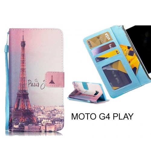 MOTO G4 PLAY case 3 card leather wallet case printed ID