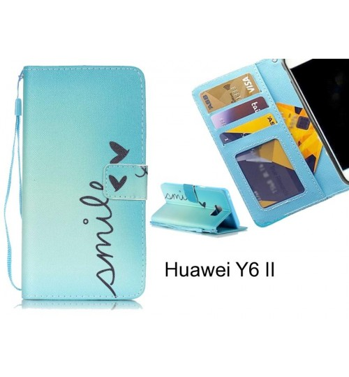 Huawei Y6 II case 3 card leather wallet case printed ID