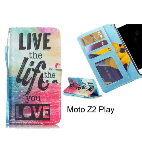 new style 3614c f028f Buy Moto Z2 Play case 3 card leather wallet case printed ID online ...