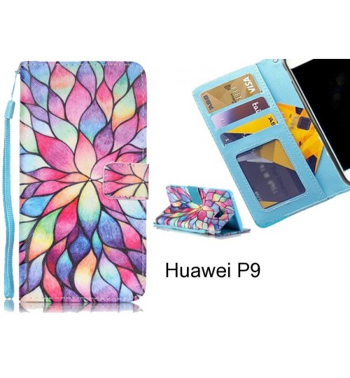 Huawei P9 case 3 card leather wallet case printed ID