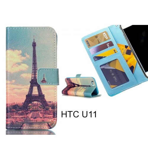 HTC U11 case 3 card leather wallet case printed ID