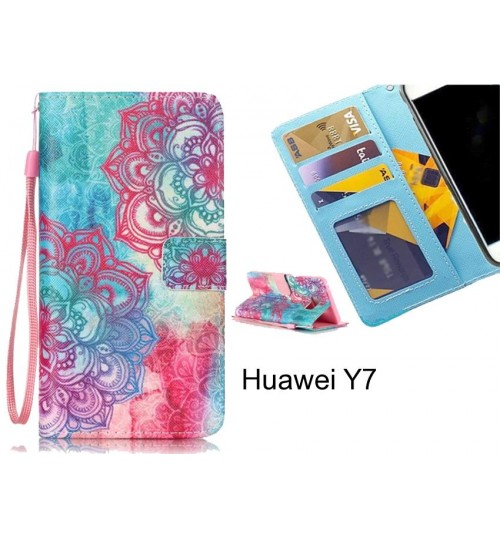 Huawei Y7 case 3 card leather wallet case printed ID