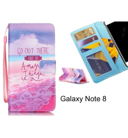 Galaxy Note 8 case 3 card leather wallet case printed ID