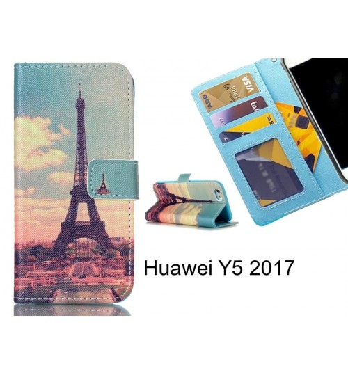 Huawei Y5 2017 case 3 card leather wallet case printed ID