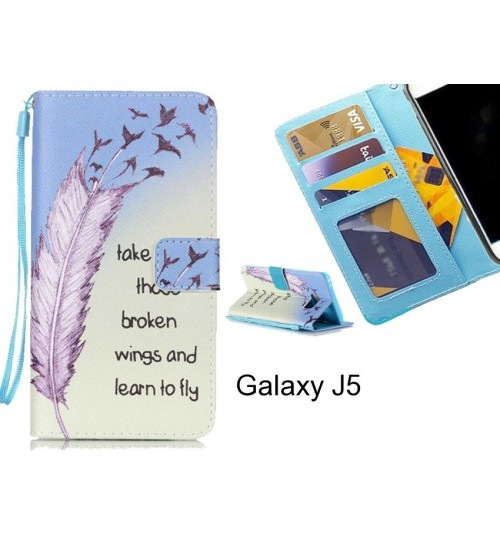 Galaxy J5 case 3 card leather wallet case printed ID