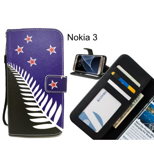 Nokia 3 case 3 card leather wallet case printed ID