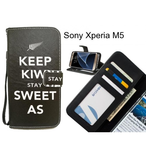 Sony Xperia M5 case 3 card leather wallet case printed ID