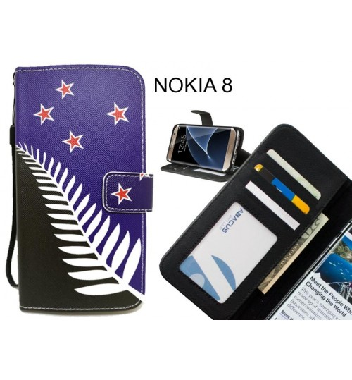 NOKIA 8 case 3 card leather wallet case printed ID
