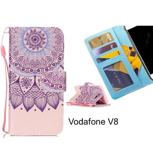 Vodafone V8 case 3 card leather wallet case printed ID