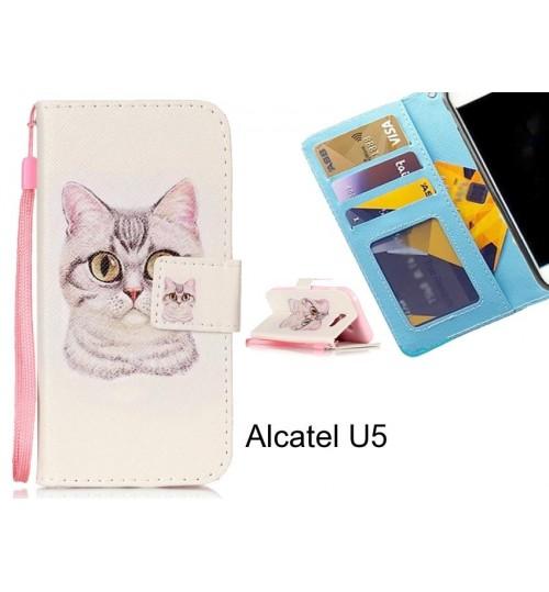 Alcatel U5 case 3 card leather wallet case printed ID
