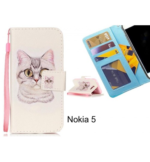 Nokia 5 case 3 card leather wallet case printed ID