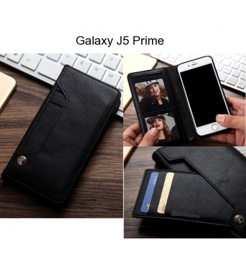 Galaxy J5 Prime case slim leather wallet case 6 cards 2 ID magnet