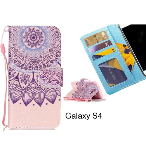 Galaxy S4 case 3 card leather wallet case printed ID