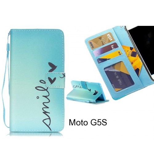 Moto G5S case 3 card leather wallet case printed ID