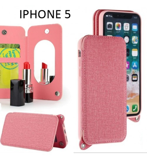 IPHONE 5 5S 5E CASE 2 Cards Slot Wallet Flip Case With Mirror