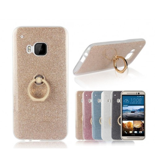 HTC M9 case Soft tpu Bling Kickstand Case with Ring Rotary Metal Mount