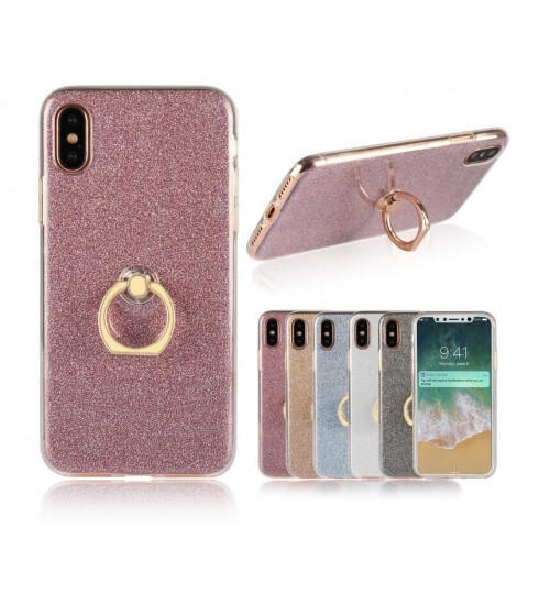 iPhone X case Soft tpu Bling Kickstand Case with Ring Rotary Metal Mount