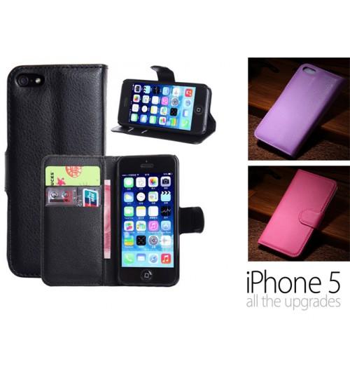 iPhone 5 5s wallet leather case+SP+PEN