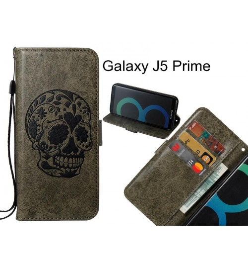 Galaxy J5 Prime case skull vintage leather wallet case