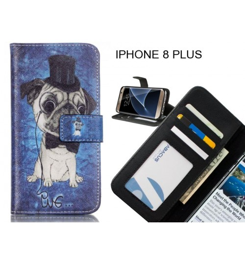 IPHONE 8 PLUS case 3 card leather wallet case printed ID