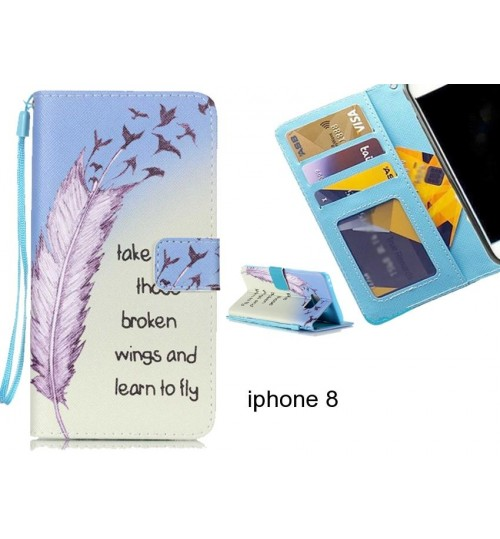 iphone 8 case 3 card leather wallet case printed ID