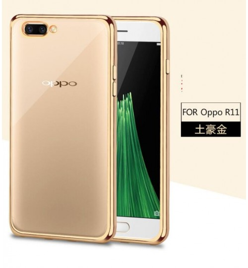 Oppo R11 case plating bumper with clear gel back cover case