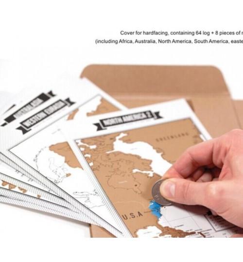 Scratch off World Map Travelogue Travel Journal Notebook