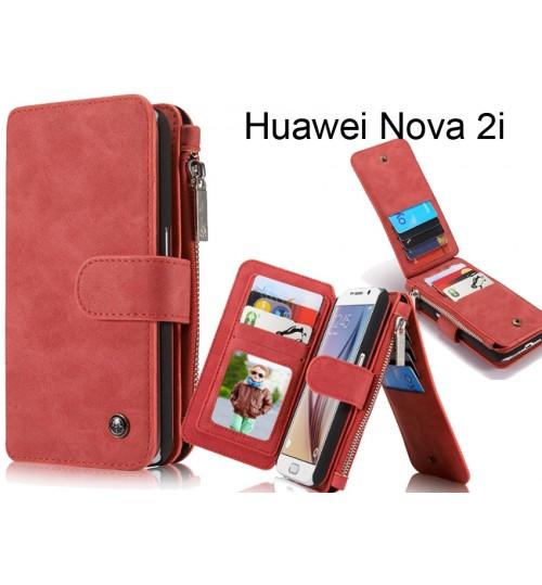 Huawei Nova 2i  Case Retro leather case multi cards cash pocket & zip
