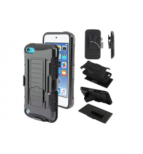 iPod Touch 5 Hybrid armor Case+Belt Clip Holster