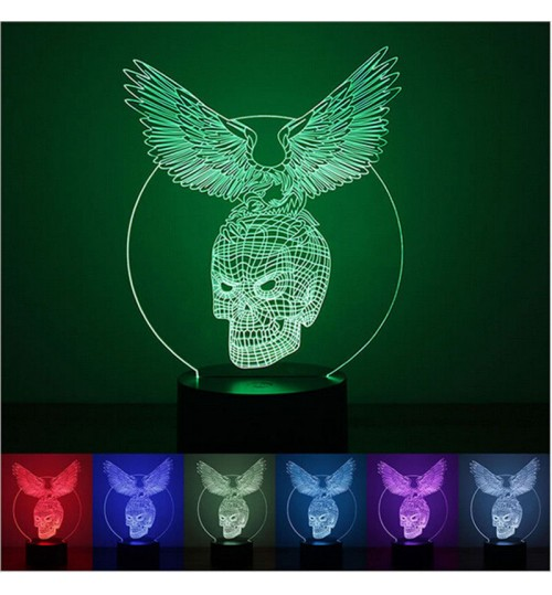3D Desk Lamp Eagle Skeleton Decor Night LED Light