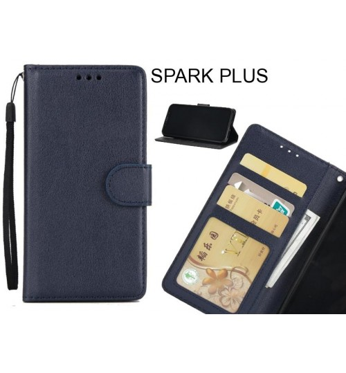 SPARK PLUS case Silk Texture Leather Wallet Case