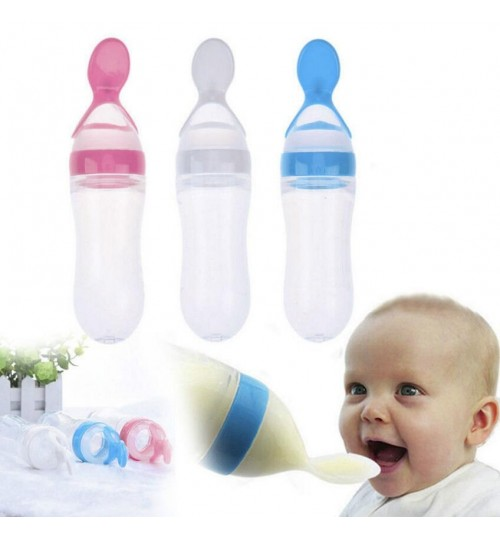 Silicone Baby Food Bottle With Spoon