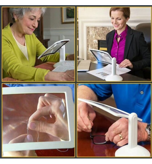 Large Reading Magnifier with LED light and stand Brighter Viewer Holder LED