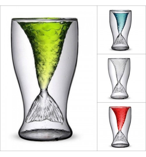 Mermaid Glass Double Wall Cup Mug