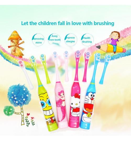 Children Kids Cartoon Electric Toothbrush + 1 Brush Heads